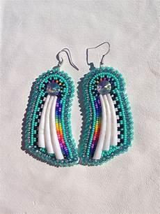 american beaded earrings with rhinestones