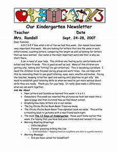 Sample Newsletters For Parents Sample Welcome To Kindergarten Letters Our Kindergarten