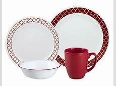 16 pc CORELLE Livingware CRIMSON TRELLIS Dinnerware Set
