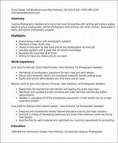 Sample Photography Resume 1 Photography Assistant Resume Templates Try Them Now