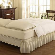 easy fit ruffled solid bed skirt king ivory new
