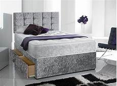 new memory sprung crushed velvet divan bed set with free