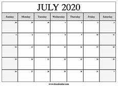 July 2020 Calendar Printable Free Printable July 2020 Calendar