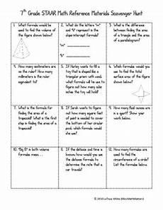 7th Grade Formula Chart 7th Grade Math Staar Reference Sheet Scavenger Hunt By