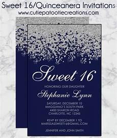Light Blue Sweet 16 Invitations Sweet 16 Birthday Invitations Quinceanera Invitation Navy