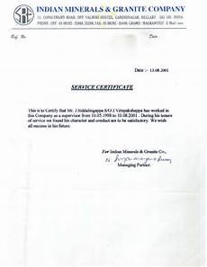Service Certificate Model 10 Indian Minerals Amp Granite Company Experience Certificate