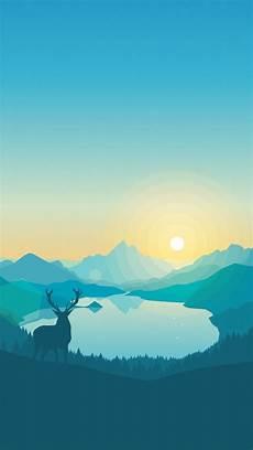 blue wallpaper 4k iphone wallpaper flat forest deer 4k 5k iphone wallpaper