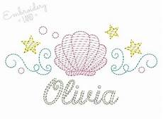 shell colorwork sketch name frame embroidery design by