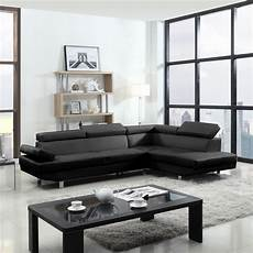2 contemporary modern faux leather black sectional sofa