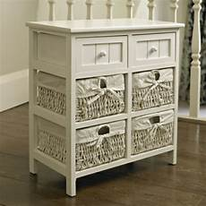 Vasagle Hallway Side Table Bedside Unit With 2 Mesh by White Side Cabinet Storage Wicker Unit 2 Drawers Table