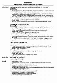Pediatric Nursing Resume Pediatric Nurse Resume Sample
