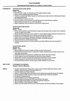 Character References In Resume Character Artist Resume Samples Velvet Jobs