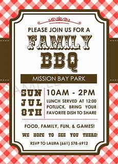 Family Picnic Invitation Family Bbq Picnic Family Reunion Western Themed Invitation