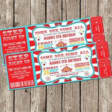Carnival Theme Party Invitations Templates Vintage Circus Carnival Invitation Ticket Invitation