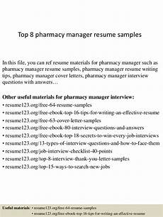 Pharmacy Manager Resume Top 8 Pharmacy Manager Resume Samples