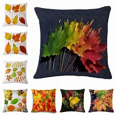 maple leaf pattern cushion cover cotton linen throw pillow