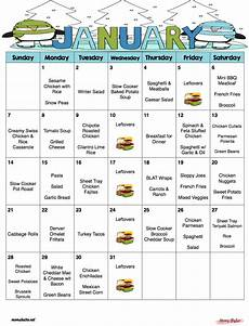 How To Meal Plan For A Month January 2018 Free Monthly Meal Plan Quick And Easy Kid