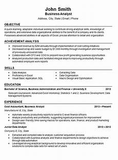 Resume Data Analysis Data Analyst Resume Example Business Finance