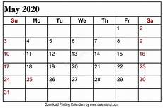 2020 Printable Monthly Calendar With Holidays May 2020 Blank Calendar Printable Free Download With