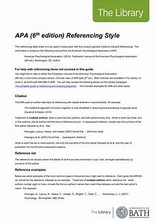 Apa Format 6th Edition Sample Paper Apa 6th Edition Referencing Style