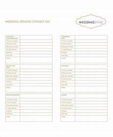 Wedding Vendor Checklist Template 8 Vendor List Templates Pdf Doc Free Amp Premium Templates