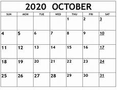 2020 Printable Monthly Calendar With Holidays October 2020 Printable Calendar Template Printable Calendar