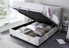 silver crushed velvet walkworth ottoman bed by kaydian