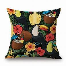 tropical plants flower pineapple cushion cover bird parrot