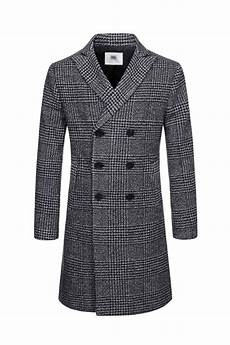trendy coats for shaver white checkered breasted wool blend coats mens