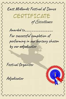 Certificate For Competition Copy Of Certificate Achievement Dance Competition
