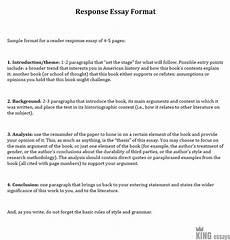 Response To Literature Essay Example Response Essay Format Essay Writing Top