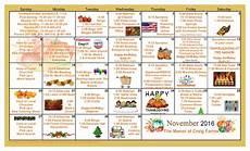 November Calendar Decorations November 2016 Calendar The Manor At Craig Farms