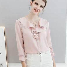 Womens Light Pink Blouse Women Polyester Blouse Long Sleeve Pink Light Blue Tops