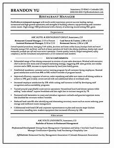 Restaurant Resume Restaurant Resume Sample Mt Home Arts