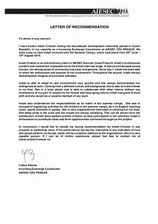 how to write an recommendation letter recommendation letter aiesec