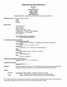 Examples Of College Resume Sample Resume For College Application Free Download