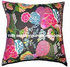 24x24 indian kantha pillow cover kantha throw pillow