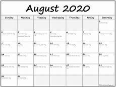 2020 Calendar With Holidays Printable August 2020 Calendar With Holidays