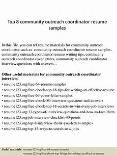 Community Outreach Cover Letters Top 8 Community Outreach Coordinator Resume Samples