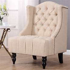 giantex modern wing back tufted accent armchair