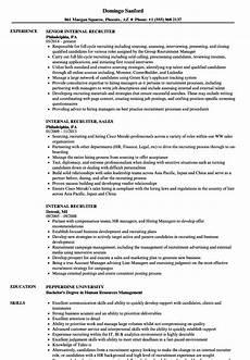 Internal Resume Template Internal Recruiter Resume Samples Velvet Jobs