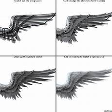 Drawing Of Angel Wings How To Draw Angel Wings In 4 Steps With Photoshop Angel