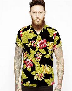 lyst asos hawaiian shirt in sleeve with floral