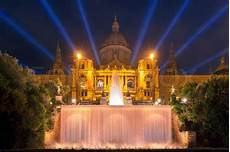 Barcelona Night Light Show Famous Light Show And Magic Fountains Stock Photo