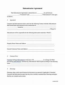 Free Subcontractor Agreement Subcontractor Agreement Template Free Template