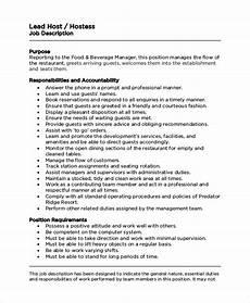 Hostess Job Description Resumes Lead Hostess Job Description Free Resume Templates