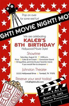 Movie Themed Invitation Template Free Items Similar To Printable File Movie Or Hollywood