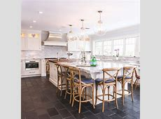 Pretty Large Kitchen Island Ideas with Slate Tile Floors