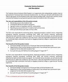 Duties Of A Customer Service Executive Free 8 Sample Customer Service Job Description Templates