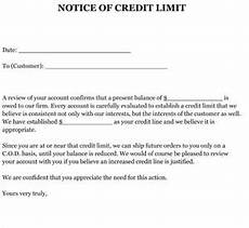 Letter For Increase Credit Limit Sample Letter Notice Of Credit Limit Small Business Free